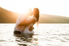 Romantic wedding pose in water at sunset | Peter and Ivana Miller | Destination Wedding Photographers | Destination Photographers in Europe | Slovakia | peterandivanamiller.com | Wedding Poses, Wedding Portraits, Travel Around The World, Around The Worlds, Destination Wedding Photographer, Elegant Wedding, Photographers, Europe, Romantic