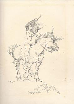 Girl on horse - Frank Frazetta