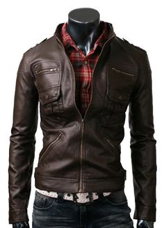 handmade Men Brown Leather Jacket six front pockets, men Brown leather jacket, Men stylish slim six Pocket leather jacket