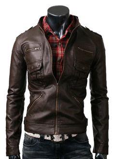 handmade Men Brown Leather Jacket six front pockets, men Brown leather jacket, Men stylish slim six Pocket leather jacket