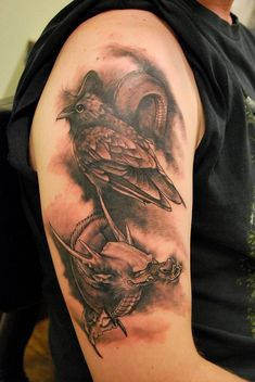 Raven and Dragon Tattoo - 60+ Mysterious Raven Tattoos  <3 <3