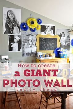 Learn how to create a GIANT PHOTO WALL.really cheap! GREAT for birthday parties, graduation, showers or any celebration! Graduation Open Houses, 8th Grade Graduation, College Graduation Parties, Graduation Celebration, Graduation Photos, Grad Parties, Birthday Parties, Graduation 2016, Guy Graduation Party Ideas