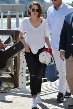 Kristen Stewart wearing Adidas Originals Superstar Sneakers