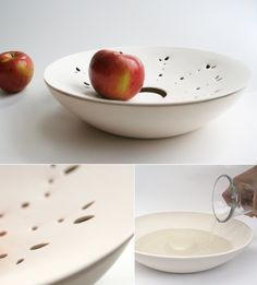 #2-Fresh! A perforated dish sits over a bowl of water. Fruit then receives humidity, helping it last longer. It's inspired by the old farmer's wisdom to preserve fruits fresh before selling.