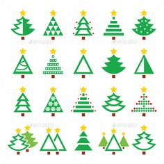 Christmas Green Tree Various Types Icons