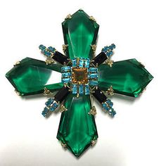 RARE Signed Schreiner Emerald Green Double Cross Brooch Inverted Rhinestone kk11 in Jewelry & Watches, Vintage & Antique Jewelry, Costume, Designer, Signed, Pins, Brooches   eBay
