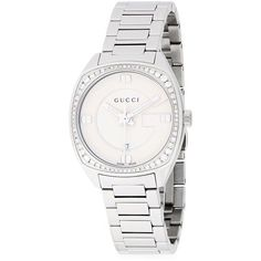 Gucci Diamond Studded White Gold Bracelet Watch ($1,350) ❤ liked on Polyvore featuring jewelry, watches, diamond wrist watch, diamond watch bracelet, diamond jewelry, bracelet watch and bezel watches