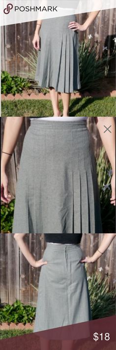 Vintage Green/Gray Pleated Skirt - XS Vintage greenish grey skirt Made by College Town probably in the 70s. The tag is smeared by I could read that it is made of Acrylic and Polyester (feels like wool). I did find another tag at the hem that says size 10 but it's definitely a vintage 10 (modern day 2 I think). Its Union Made - made in the USA.  Measurements were taken while laying flat so please double: Waist: 13'' Hip: 18'' Length: 30'' Vintage Skirts Midi
