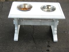 DIY Elevated Dog Feeder- need to measure to see how high table needs to be for Gypsy and Saylor - Anmi