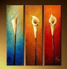 Large Oil Painting Calla Lily Flower Painting 3 Piece Wall Art Group Painting Abstract Painting Canvas Art Modern Art Hand Painted Art Abstract Art (Unframed and Unstretched) 3 Piece Canvas Art, 3 Piece Wall Art, Canvas Wall Art, Extra Large Wall Art, Large Art, 3 Panel Wall Art, Canvas Paintings For Sale, Hand Painting Art, Painting Canvas