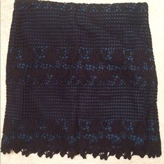 Loft skirt Size 8 loft skirt, teal with black lace overlay, new with tags LOFT Skirts