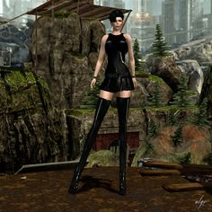 AlgeStyle: Ghee Latex Garter Mini Dress and boots GLITTER Poses - GP Mainstore: http://maps.secondlife.com/secondlife/Misty%20Mountain%20S/25/194/995