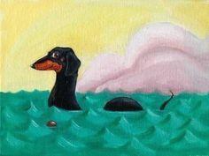 The Dach-ness Monster - Dachshund dog art. via Etsy.