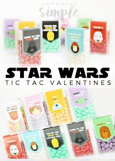 I felt a great disturbance in the force, as if a million voices suddenly cried out that they needed these Star Wars Valentine Tic Tac Labels in their lives, ASAP. Tic Tac Valentine, Valentine Box, Valentine Day Crafts, Valentine Ideas, Star Wars Birthday, Star Wars Party, Aniversario Star Wars, Happy Hearts Day, Valentine's Day Printables