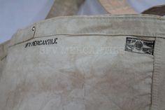 Image of SFV MERCANTILE Newspaper Boy Riveted Natural Canvas Bag in Vintage Wash