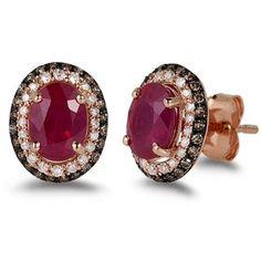 14K Rose Gold Diamond Earrings Jewelry | Effy Jewelry Gemma 14K Rose Gold Ruby and Diamond Earrings, 2.27 TCW