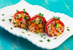 Indulge in this tasty and vibrant Tuna Salad Stuffed Red Pepper. It's a great recipe for Phase 2 of the Fast Metabolism Diet. Get the recipe on our blog.