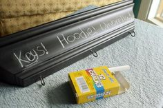How To: Chalkboard Shelf with Hanging Hooks   greenUPGRADER http://greenupgrader.com/16647/craft-recycled-chalkboard-shelf-with-hanging-hooks/?utm_content=buffercee01&utm_medium=social&utm_source=pinterest.com&utm_campaign=buffer A great project for recycled items you found on https://www.renoback.com/?utm_content=buffer8f079&utm_medium=social&utm_source=pinterest.com&utm_campaign=buffer FREE!