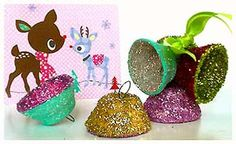 Those might be kinda cute to try out. Little glittered bells, made out of a cut up egg crate, container.