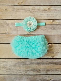 Mint Ruffle Bloomer And Headband Set Newborn Photo Prop Girl