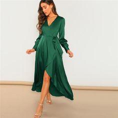 Tie maxi dress - Green Solid Surplice Wrap Knot High Waist Belted Maxi Plain V Neck Dress – Tie maxi dress Elegant Dresses, Casual Dresses For Women, Cute Dresses, Sexy Dresses, Summer Dresses, Formal Dresses, Wedding Dresses, Sweater Dresses, Short Dresses