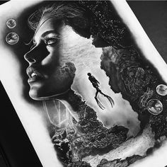 "363 aprecieri, 28 comentarii - Jake Sly (@sly_tattoo) pe Instagram: ""Another charcoal sketch,, underwater styles... @royaltatsupplies"""