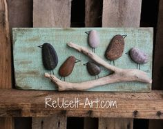Rock Art Wood Sign,Birds in a Tree, Rustic Pallet Art 5.1/2 x 12