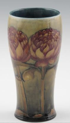 Moorcroft Pottery Vase with the hard to find Protea Design made by William Moorcroft c1930.  www.collectingmoorcroftpottery.com