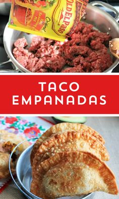 Empanadas All your favorite tacos fixings in an easy to hold empanada.All your favorite tacos fixings in an easy to hold empanada. Mexican Dishes, Mexican Food Recipes, New Recipes, Cooking Recipes, Favorite Recipes, Recipies, Turkey Recipes, Good Food, Yummy Food