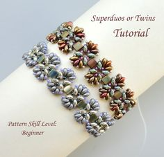 Beading tutorial instructions - beadweaving pattern beaded superduo or twin and tila seed bead jewelry - EPI de BLE beadwoven bracelet