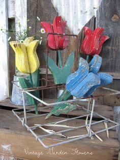 Vintage Garden Art Wood Garden Tulip Flower by SweetMagnoliasFarm, sold out