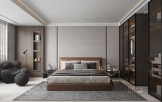复试洋房 on Behance Luxury Bedroom Design, Bedroom Bed Design, Luxury Interior, Home Bedroom, Small Apartment Interior, Bedroom Ceiling, Suites, Minimalist Bedroom, Contemporary Bedroom