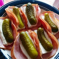 I have this bad habit of not eating enough breakfast and then getting super crabby before dinner so today I'm not making that mistake with pickle ham and cream cheese rollups! #60daysketo #trimhealthystrong #jymarmy . . . . . . . . . . . . Appetizer Recipes, Appetizers, Ham Wraps, Homemade Ham, Roll Ups, Hot Dogs, Pickles, Cheese, Dinner
