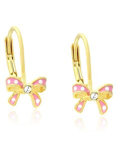 Little girls' earrings should be simple yet special. This charming pair is perfect with shimmering gold-plated brass and sleek enamel bows topped with sparkling rhinestones. 15.4 mm diameterBrass / 18k gold / enamelImported