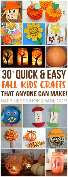 Make these quick + easy autumn fall kids crafts in under 30 minutes with basic supplies! No special tools or skills are needed, so ANYONE can get crafty! fall Easy Fall Kids Crafts That Anyone Can Make! - Happiness is Homemade Fall Crafts For Kids, Crafts For Teens, Projects For Kids, Art For Kids, Kids Diy, Winter Craft, Diy Projects, September Kids Crafts, Fall Crafts For Preschoolers