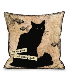 Look at this Cream 'So Good At Being Bad' Throw Pillow on #zulily today!