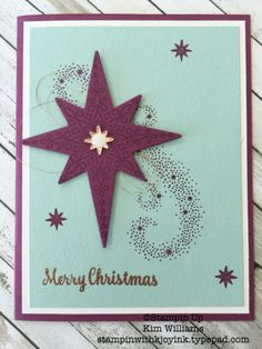 Stampin Up Star of Light stamp set. New Stampin Up Holiday Catalog 2016. Kim Williams, stampinwithkjoyink.typepad.com. Pink Pineapple Paper Crafts. Starlight thinlits and copper foil as well as copper emboss powder and copper thread go well with the colors on this card. I love this easy card idea for Christmas cards.