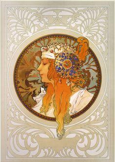 "Alphonse Mucha ""Byzantine Heads: Blonde"""