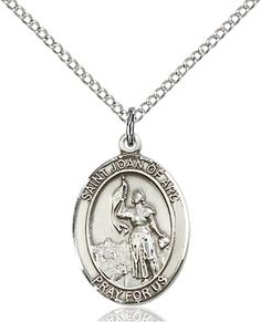 Joan of Arc Pendant with 18 Sterling Silver Lite Curb Chain F A Dumont Church Supplies Custom Engraved Sterling Silver St Patron Saint of Soldiers//France