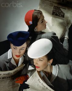 Forties hats, gray flannel suits.  Photographer Horst, 1943