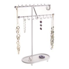 Necklace Holder Stand Jewelry Tree Organizer Storage Rack Bracelet Display Tray Sharisa White >>> See this great product. Bracelet Holders, Bracelet Display, Necklace Holder, Jewelry Holder, Earring Holders, Jewelry Storage Solutions, Jewellery Storage, Jewelry Organization, Storage Organization