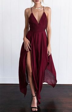 2017 Custom Made Burgundy Prom Dress,Spaghetti Straps Evening Dress,Chiffon Party Dress