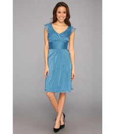 Femininity at its finest. . Lightweight chiffon dress features allover tiers and romantic cap slee...