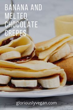 Crepes are a delicious breakfast, and if you choose the correct recipe they can be very healthy. #veganfood #gloriouslyvegan #food #bananachocolatecrepes #healthyfood #food Chocolate Crepes, Vegan Chocolate, Melting Chocolate, Like Chocolate, Vegan Brunch Recipes, Vegan Desserts, Healthy Recipes, High Protein Muffins, Protein Waffles