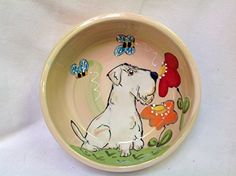 Dog Bowl 6 Sealyham Terrier Dog Bowl for Food or Water Personalized at no Charge Signed by Artist Debby Carman -- Continue to the product at the image link.