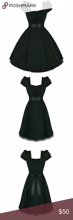 H&R London Black Retro Style Swing Dress - 16 Brand: Hearts & Roses London Size: UK 18 = US 16 (measurements on request) -Cap sleeves - Full circle skirt - Black tulle detail around bottom hem - Removable sash - Bow detail on chest, held on with a few strings, easy to remove if it's not your style - Removable satin sash - Hidden side bust zip - Fabric has mild stretch - Gorgeous with or without petticoat  - Unworn - Cheaper on M, username Lunakill Hearts & Roses London Dresses Midi
