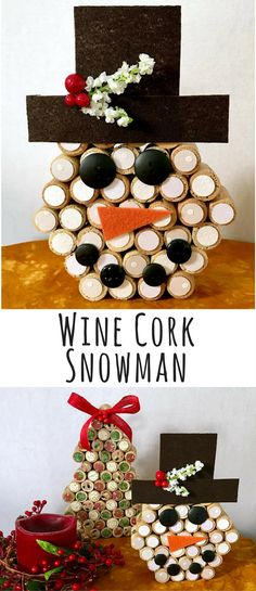 Wine Cork Snowman! Snowman Centerpiece, Snowman Decor, Bottle Cork Decor, Handmade Snowman, Holiday Home Decor, Farmhouse Decor, Rustic Christmas decor, Christmas gift idea #ad