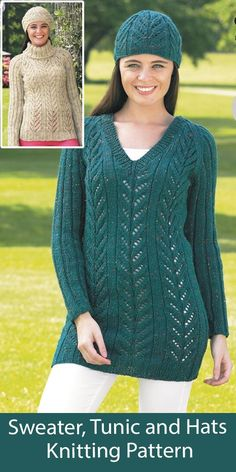 Sweater, Tunic and Hats Knitting Pattern King Cole 4349 Matching v-necked tunic, turtleneck sweater, and hats knit with a lace pattern. Sizes Sweater/Tunic - To Fit Bust: 81cm to 107cm, Hat: 45.5cm to 51cm. Aran weight yarn. King Cole 4349.