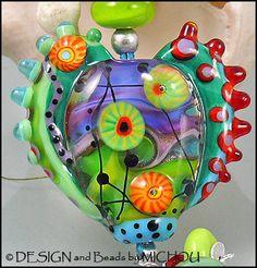 MICHOU Anderson Lampwork Jewelry  Glass Heart by MichouJewelry, $93.00
