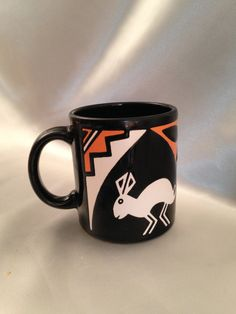 Waechtersbach Spain Folk Art - Jack Rabbit Coffee Mug/WAECHTERSBACH Coffee Mug/Jack Rabbit/Rabbit Mug/South Western Design Coffee Mug by PhilomenasCloset on Etsy